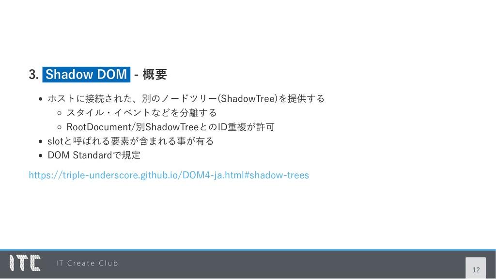 3. Shadow DOM ‑ 概要 ホストに接続された、別のノードツリー(ShadowTre...