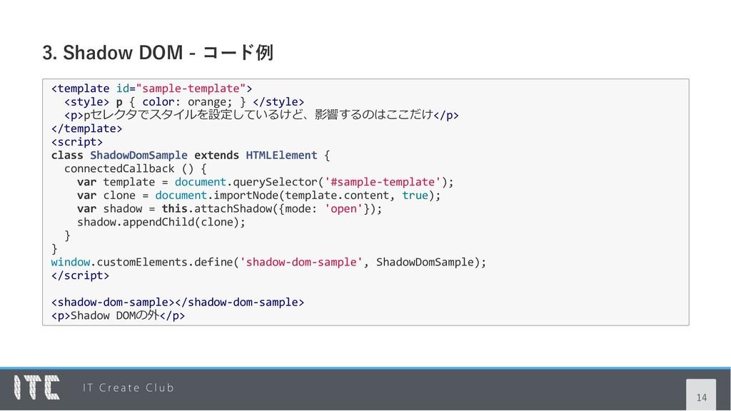 "3. Shadow DOM ‑ コード例 <template id=""sample‐templ..."