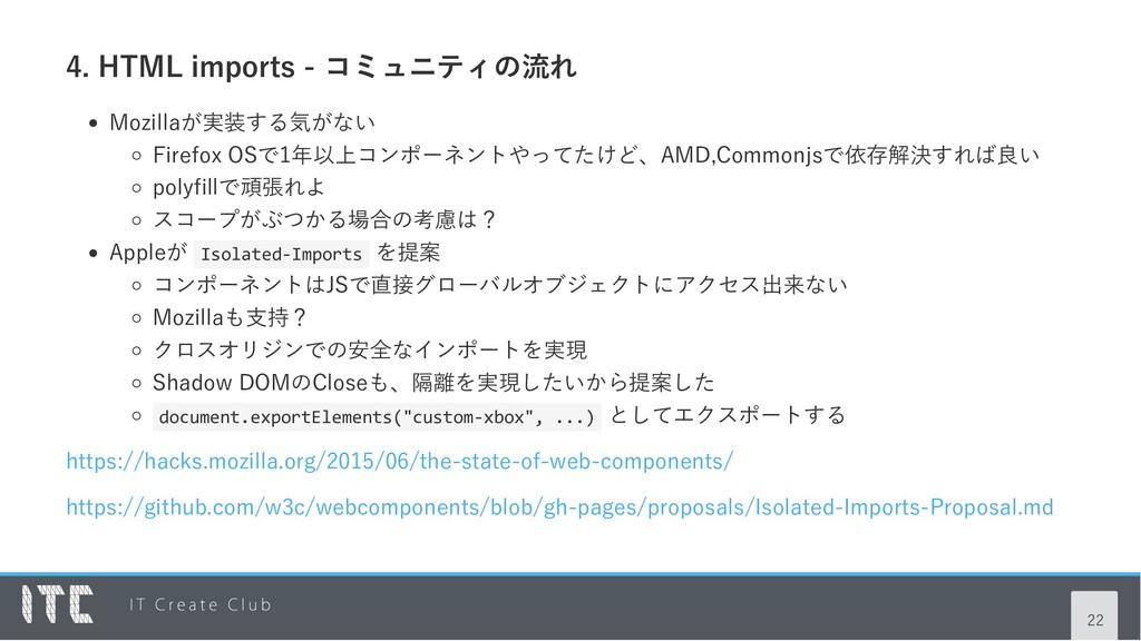 4. HTML imports ‑ コミュニティの流れ Mozillaが実装する気がない Fi...
