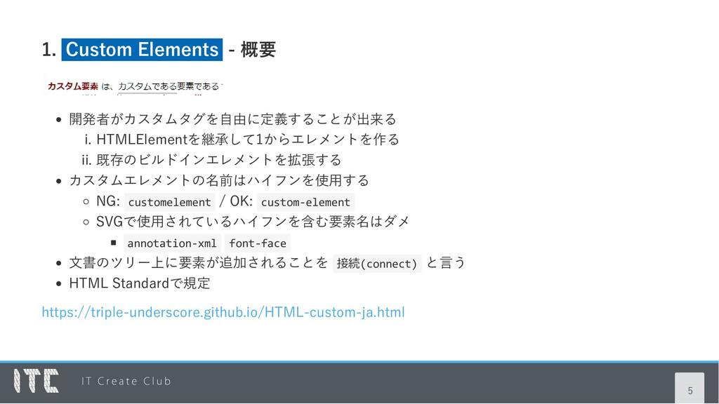 1. Custom Elements ‑ 概要 開発者がカスタムタグを自由に定義することが出来...
