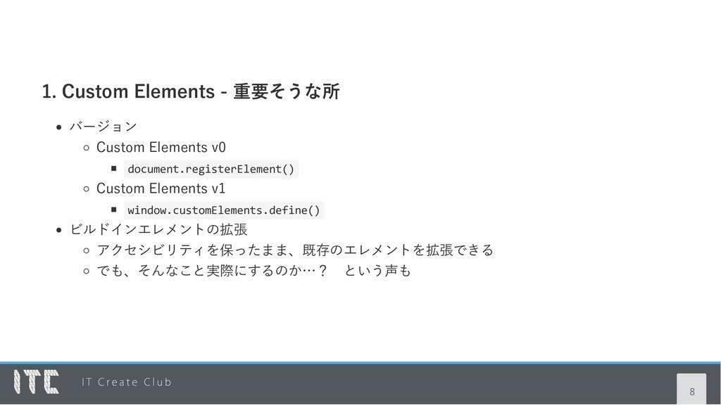 1. Custom Elements ‑ 重要そうな所 バージョン Custom Elemen...