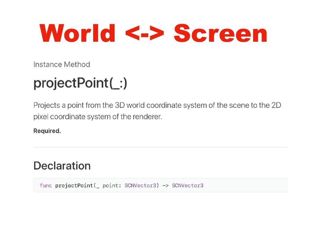 World <-> Screen