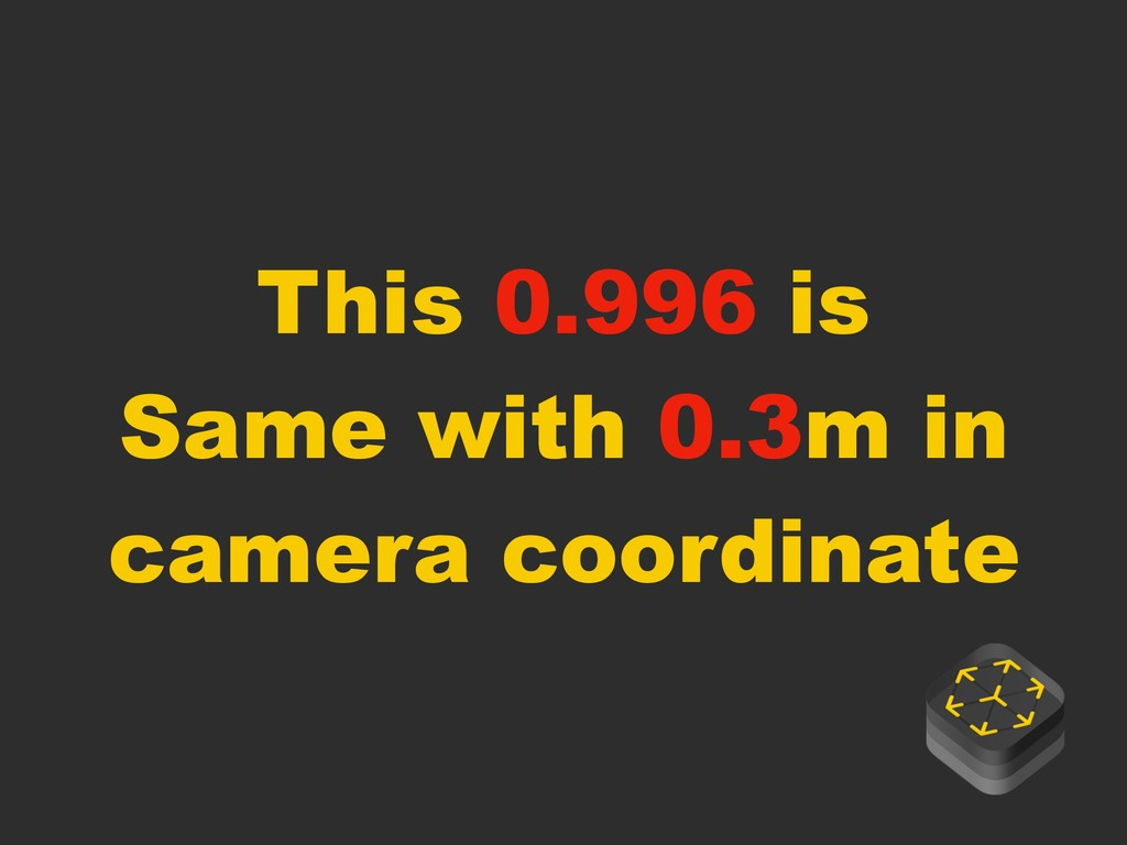 This 0.996 is Same with 0.3m in camera coordina...