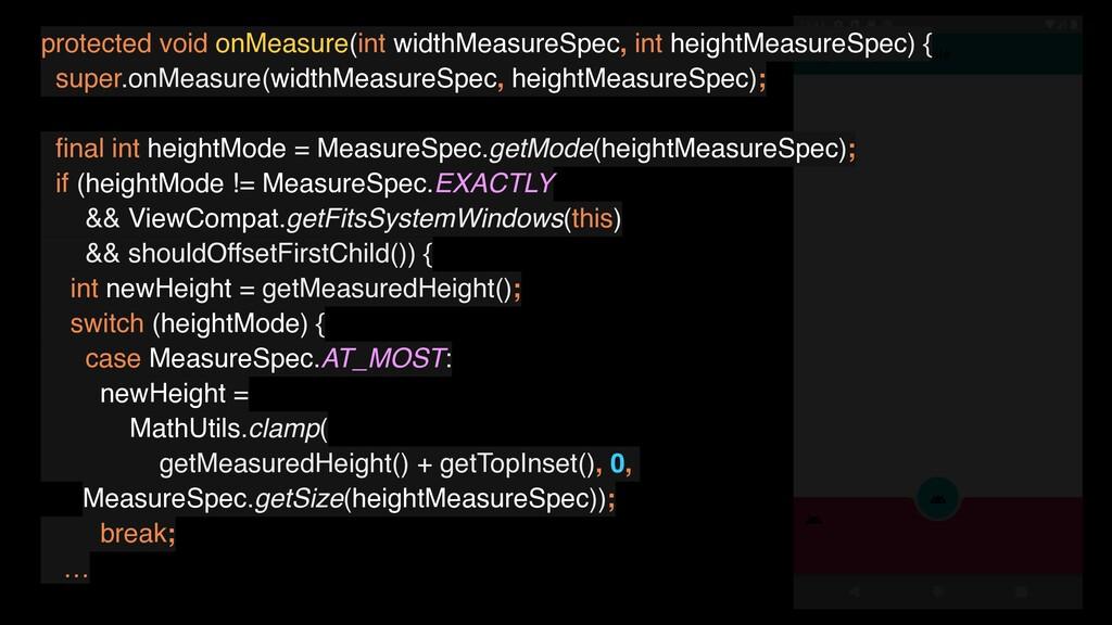protected void onMeasure(int widthMeasureSpec, ...