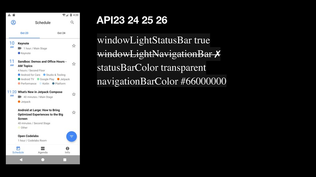 windowLightStatusBar true windowLightNavigation...