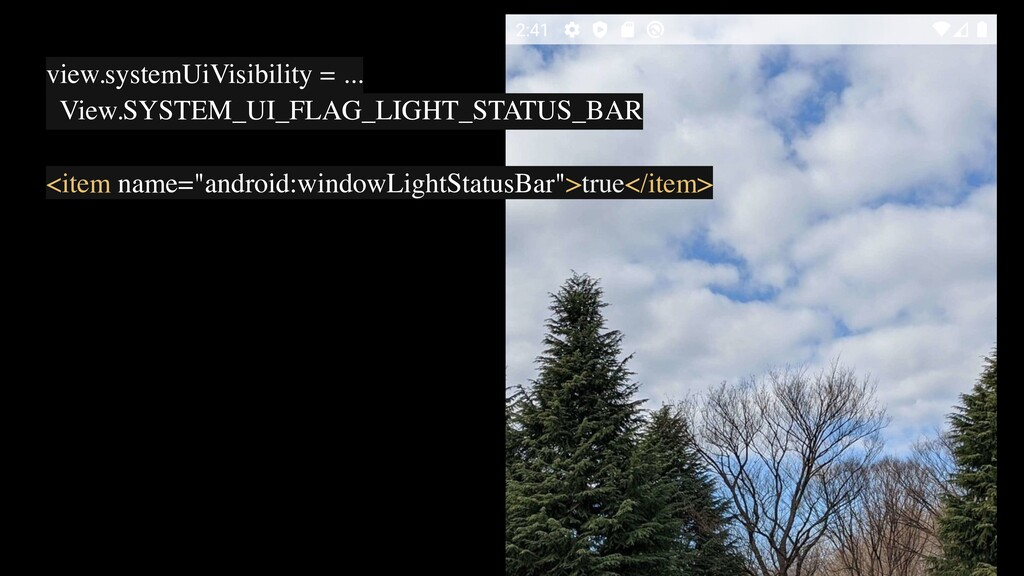 view.systemUiVisibility = ... View.SYSTEM_UI_FL...