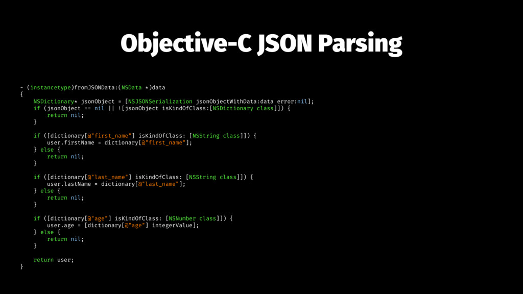 Objective-C JSON Parsing - (instancetype)fromJS...