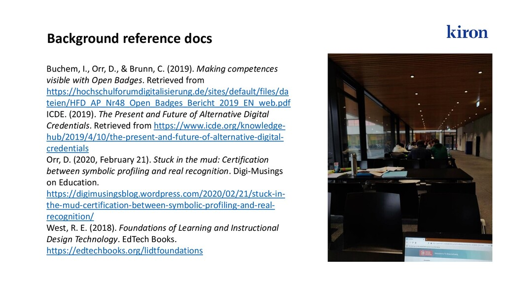Background reference docs Buchem, I., Orr, D., ...