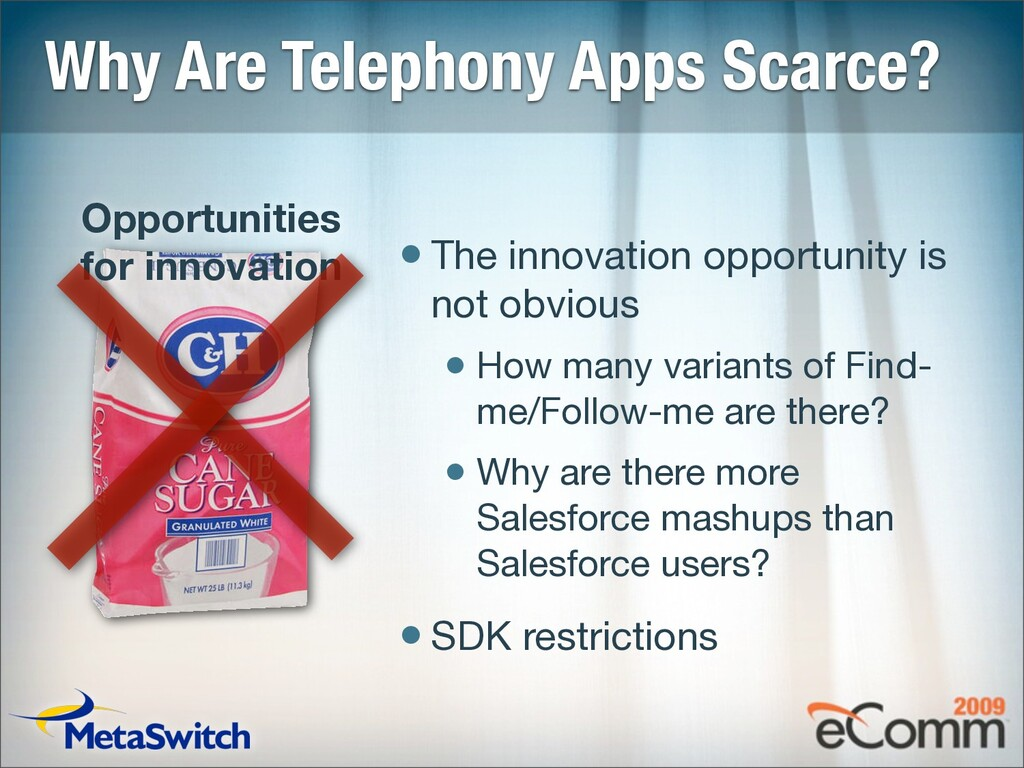 Why Are Telephony Apps Scarce? •The innovation ...