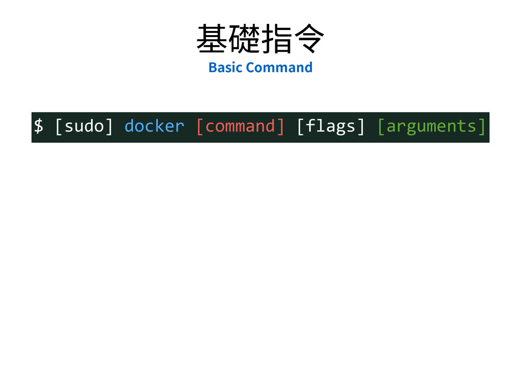 㛇燊䭸⟂ #BTJD$PNNBOE $  [sudo]  docker  [command]...