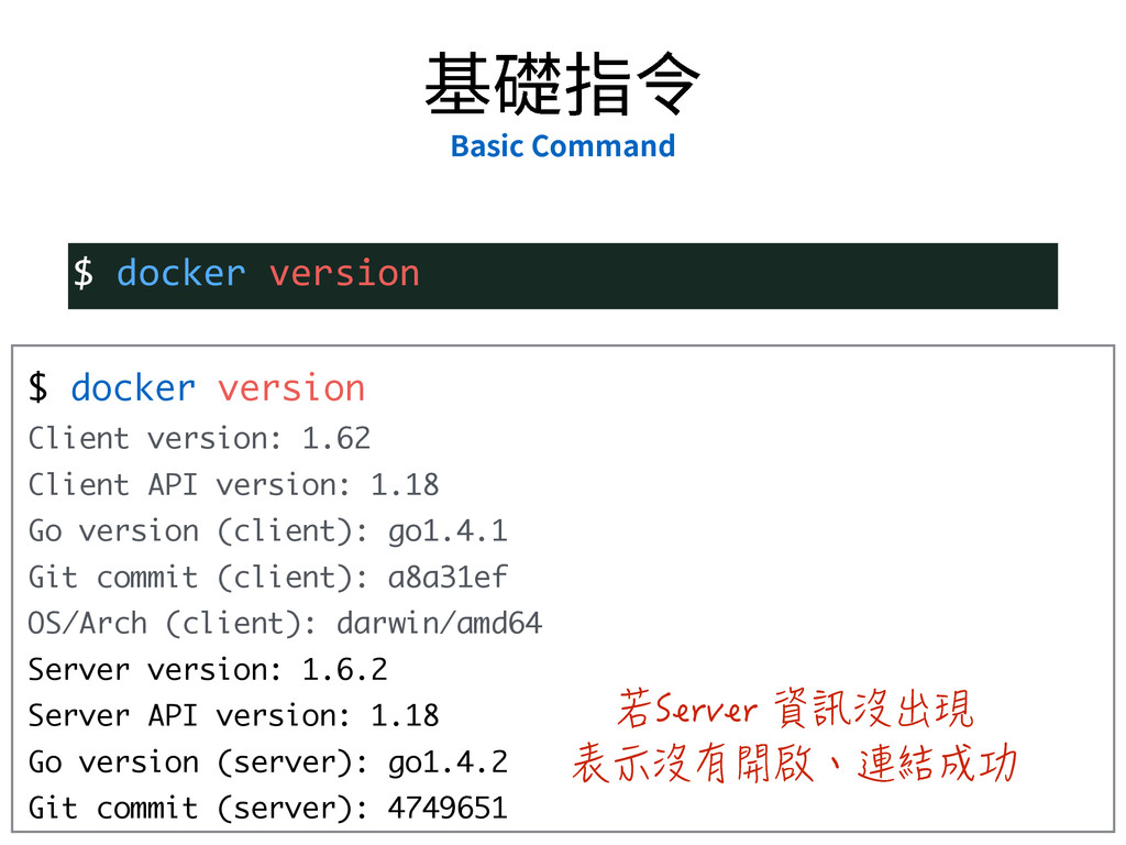 $ docker version Client version: 1.62 Client AP...