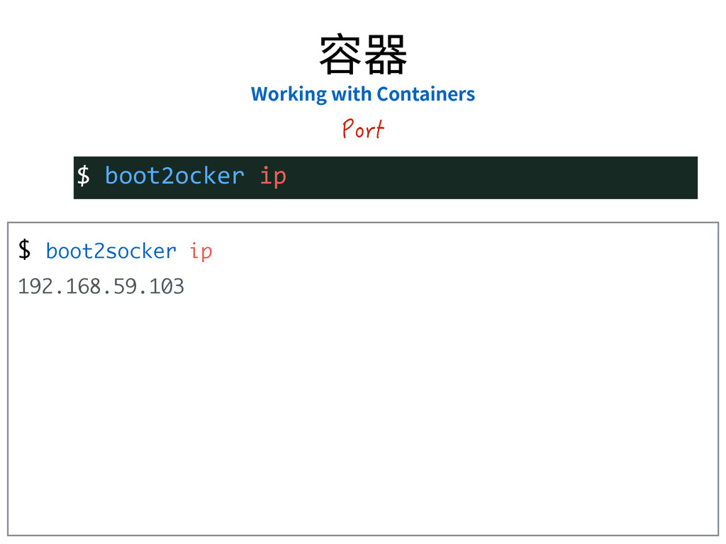 $ boot2socker ip 192.168.59.103 $  boot2ocker  ...
