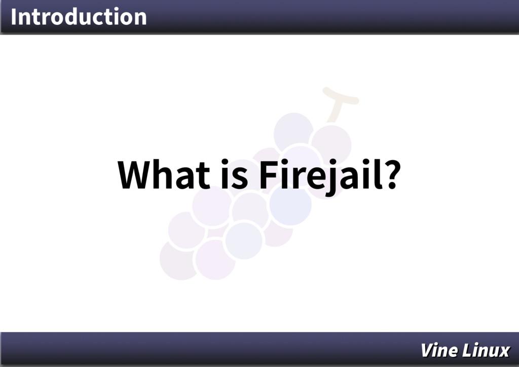 Introduction What is Firejail? Vine Linux Vine ...