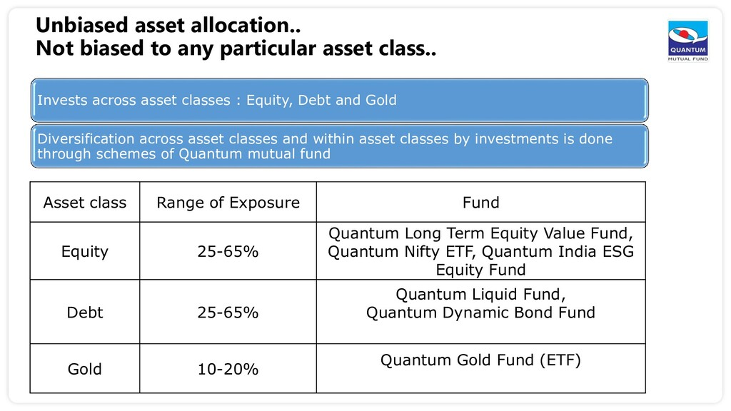 Unbiased asset allocation.. Not biased to any p...