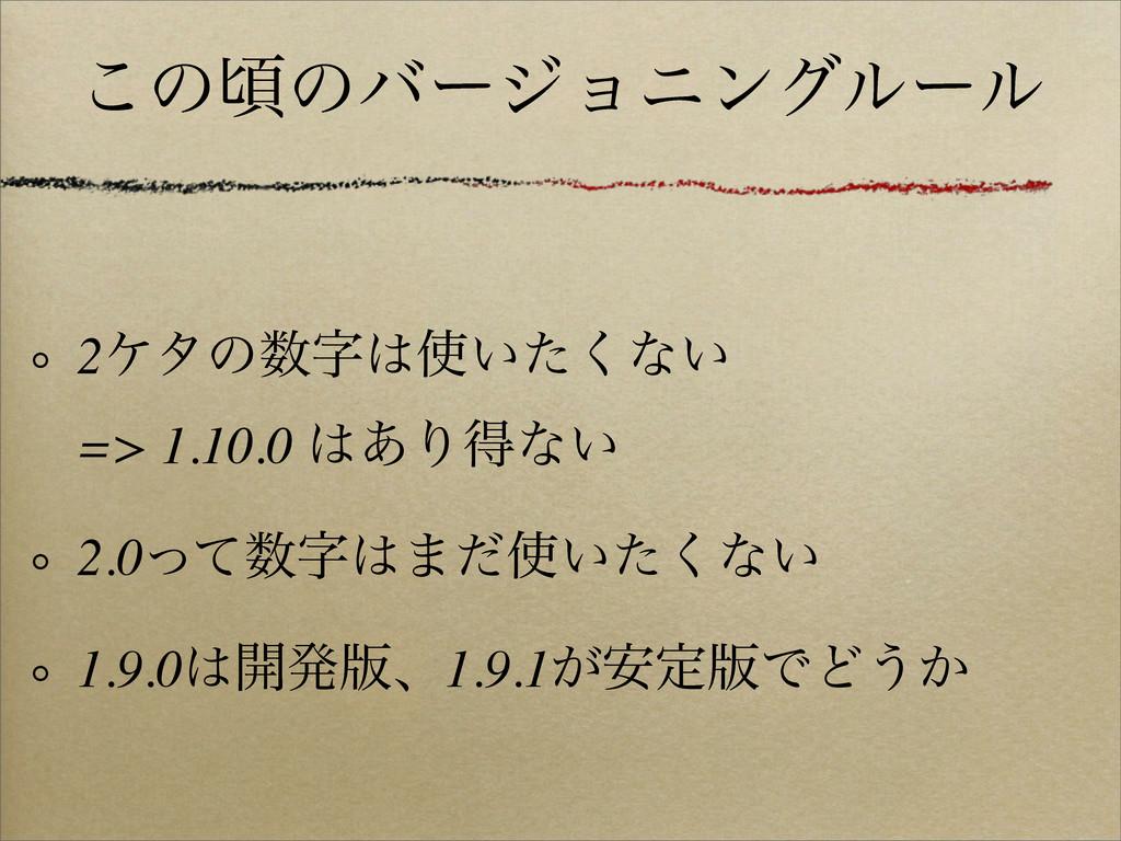 ͜ͷࠒͷόʔδϣχϯάϧʔϧ 2έλͷ͍ͨ͘ͳ͍ => 1.10.0 ͋Γಘͳ͍ 2...