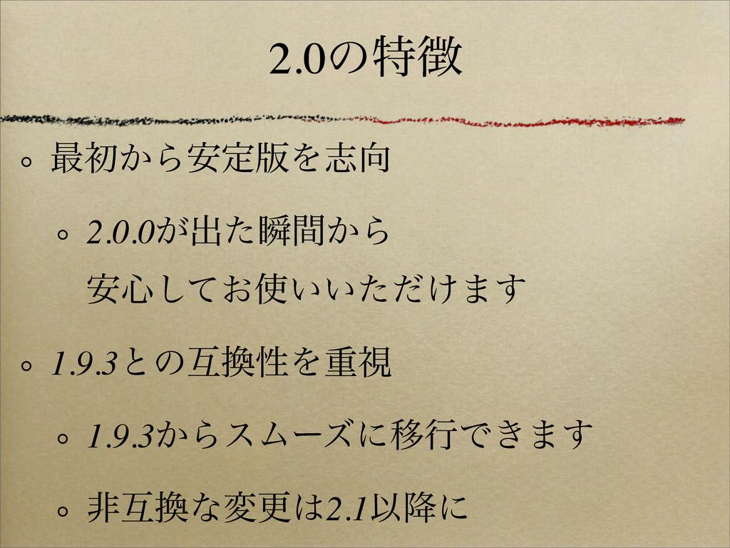 2.0ͷಛ ࠷ॳ͔Β҆ఆ൛Λࢤ 2.0.0͕ग़ͨॠ͔ؒΒ ҆৺͓͍͍͚ͯͨͩ͠·͢ 1....