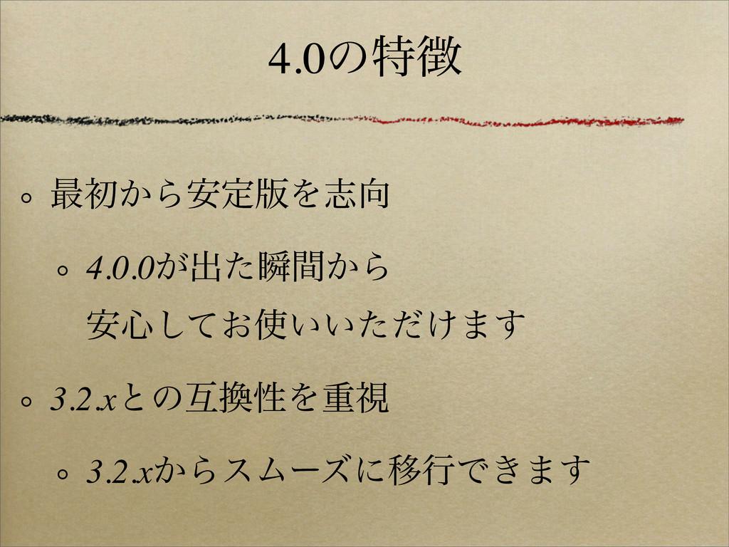 4.0ͷಛ ࠷ॳ͔Β҆ఆ൛Λࢤ 4.0.0͕ग़ͨॠ͔ؒΒ ҆৺͓͍͍͚ͯͨͩ͠·͢ 3....