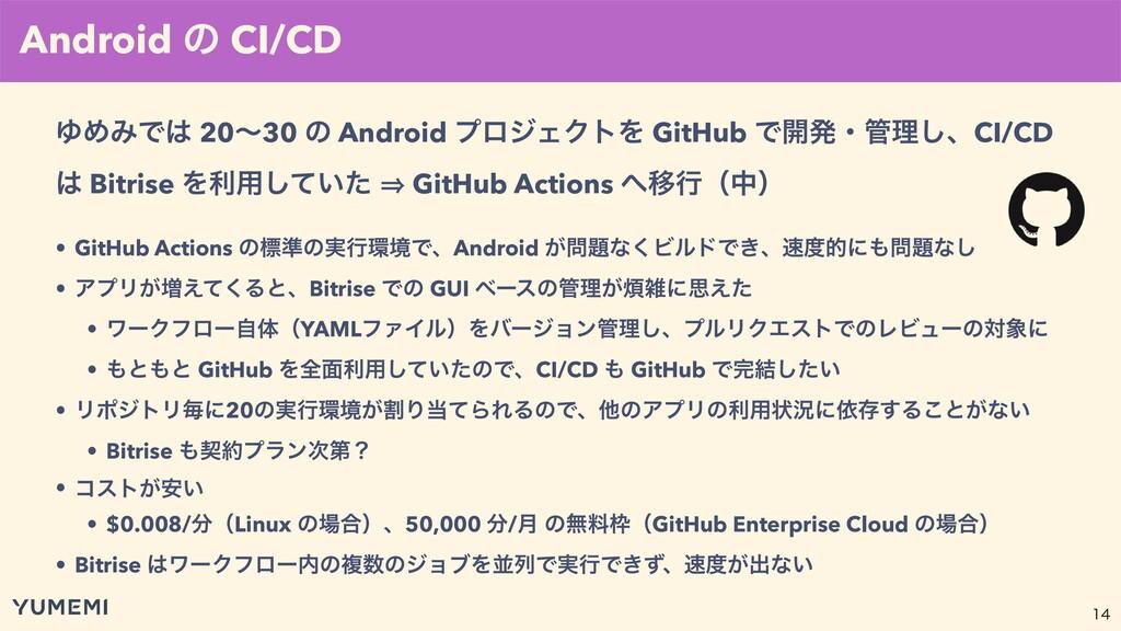 • GitHub Actions ͷඪ४ͷ࣮ߦڥͰɺAndroid ͕ͳ͘ϏϧυͰ...