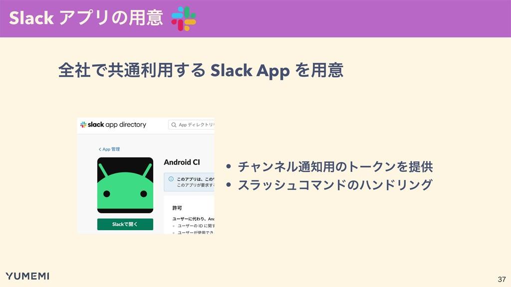 Slack ΞϓϦͷ༻ҙ  શࣾͰڞ௨ར༻͢Δ Slack App Λ༻ҙ • νϟϯωϧ...