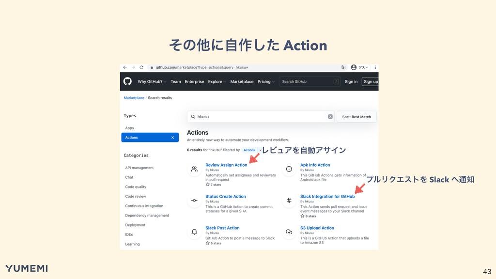 ͦͷଞʹࣗ࡞ͨ͠ Action ϓϧϦΫΤετΛ Slack ௨ ϨϏϡΞΛࣗಈΞα...