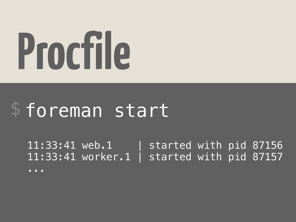 Procfile foreman start $ 11:33:41 web.1 | start...