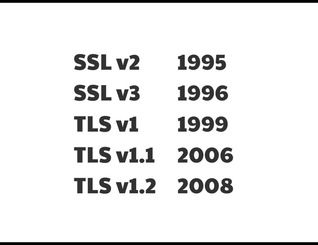 SSL v2  SSL v3  TLS v1  TLS v1.1  TLS v1.2 1995...