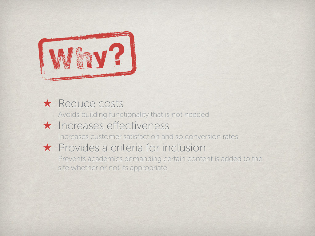 Why? ★ Reduce costs Avoids building functionali...