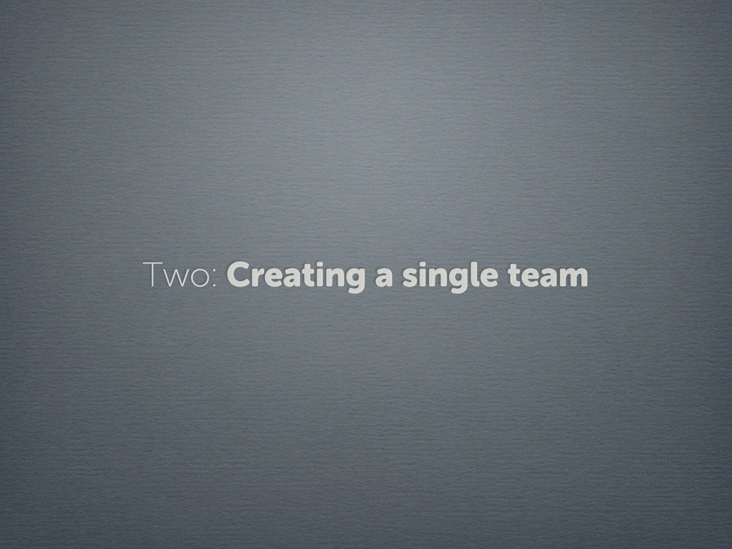 Two: Creating a single team