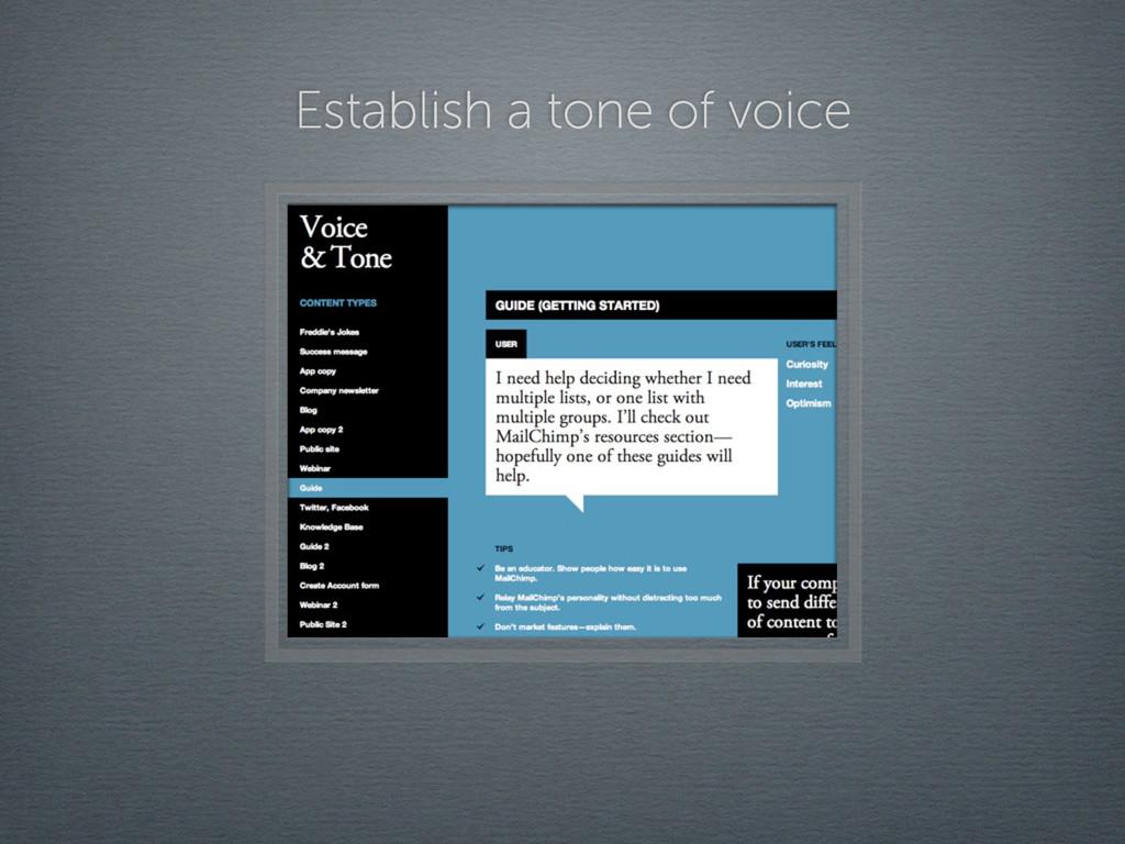 Establish a tone of voice