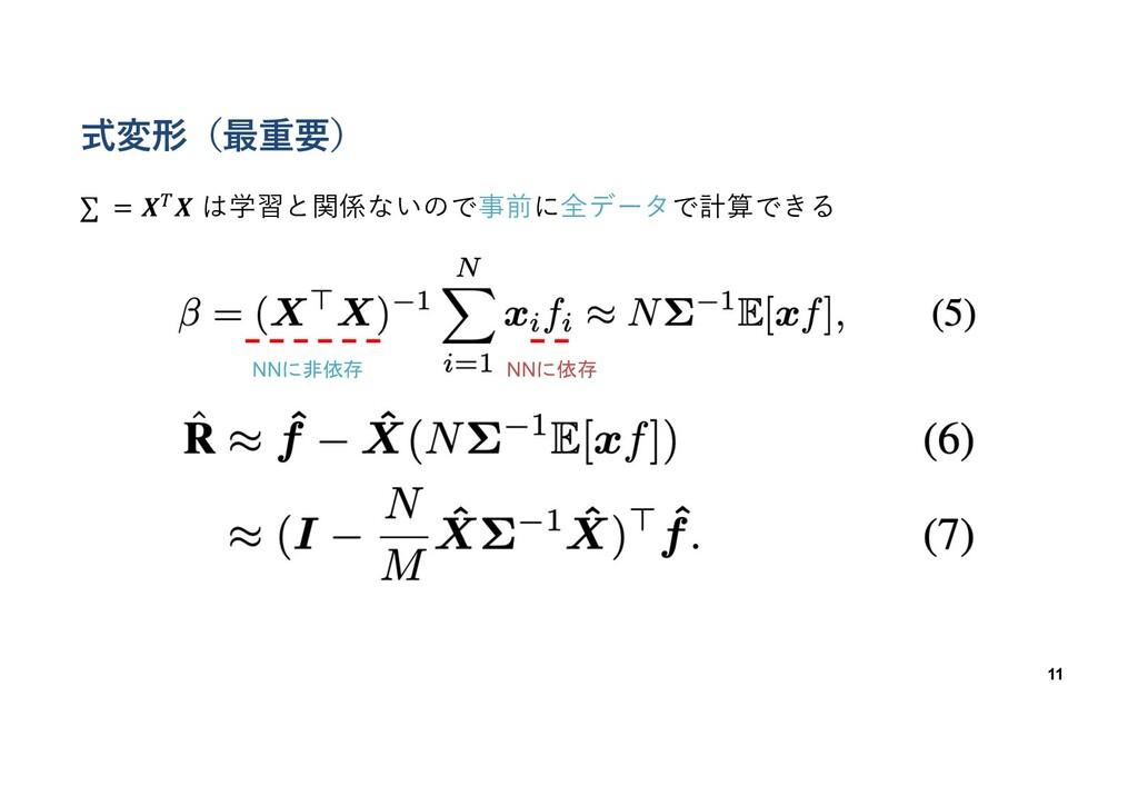 式変形(最重要) 11 NNに非依存 ∑ = 𝑿,𝑿 は学習と関係ないので事前に全データで計算...