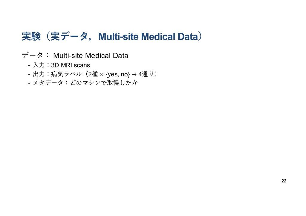 実験(実データ,Multi-site Medical Data) 22 データ: Multi-...