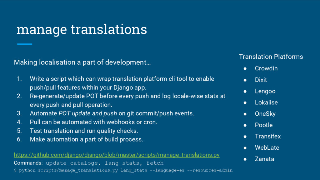 manage translations Making localisation a part ...