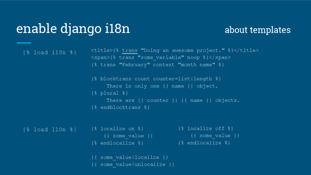 enable django i18n about templates <title>{% tr...