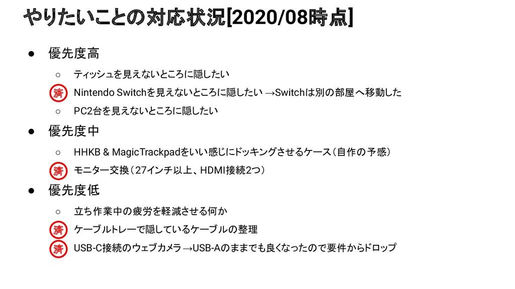 ● 優先度高 ○ ティッシュを見えないところに隠したい ○ Nintendo Switchを見...