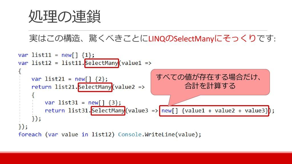 処理の連鎖 実はこの構造、驚くべきことにLINQのSelectManyにそっくりです: すべて...