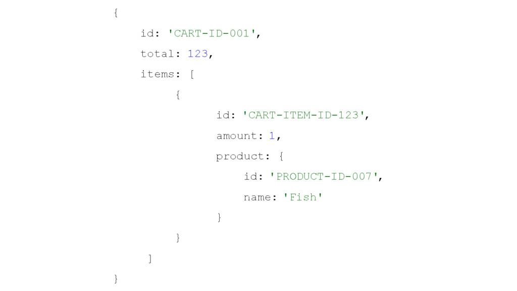{ id: 'CART-ID-001', total: 123, items: [ { id:...