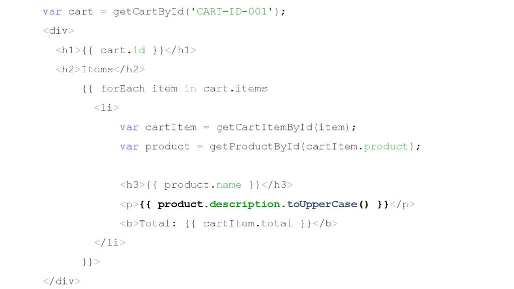 var cart = getCartById('CART-ID-001'); <div> <h...
