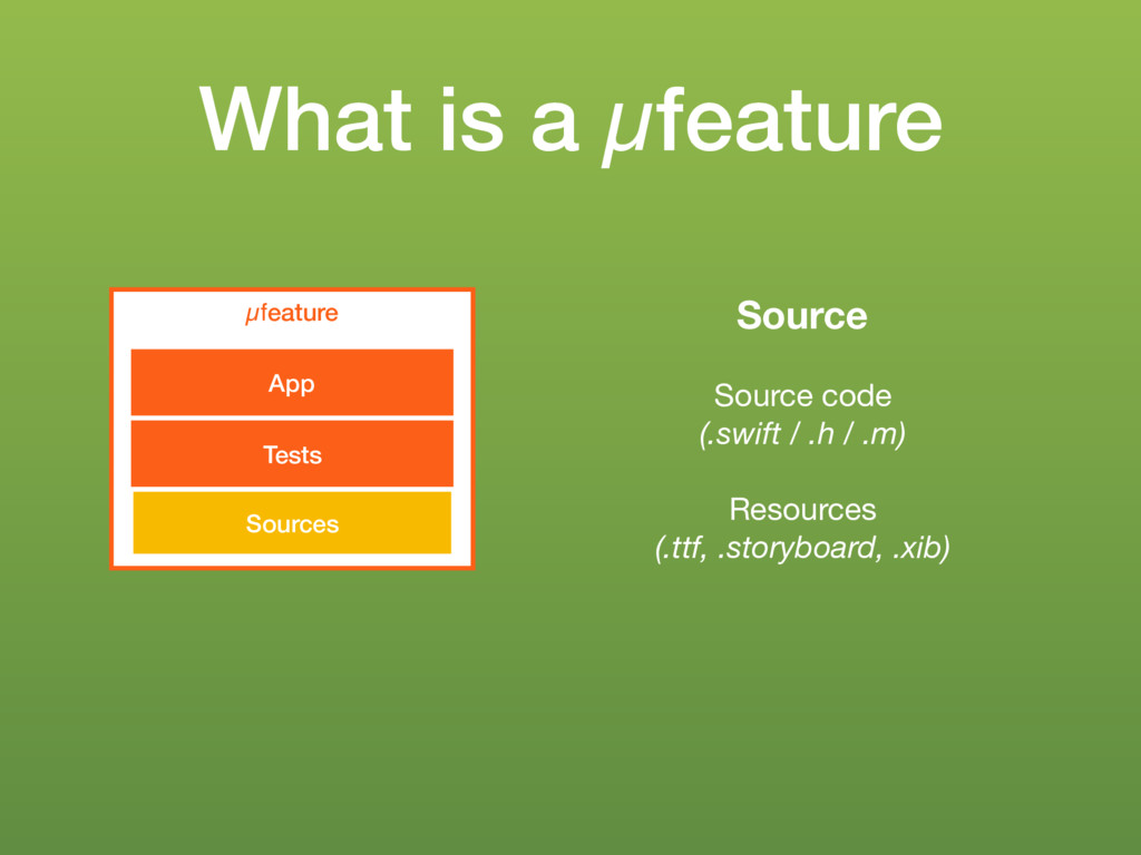 What is a µfeature µfeature Sources Tests App S...