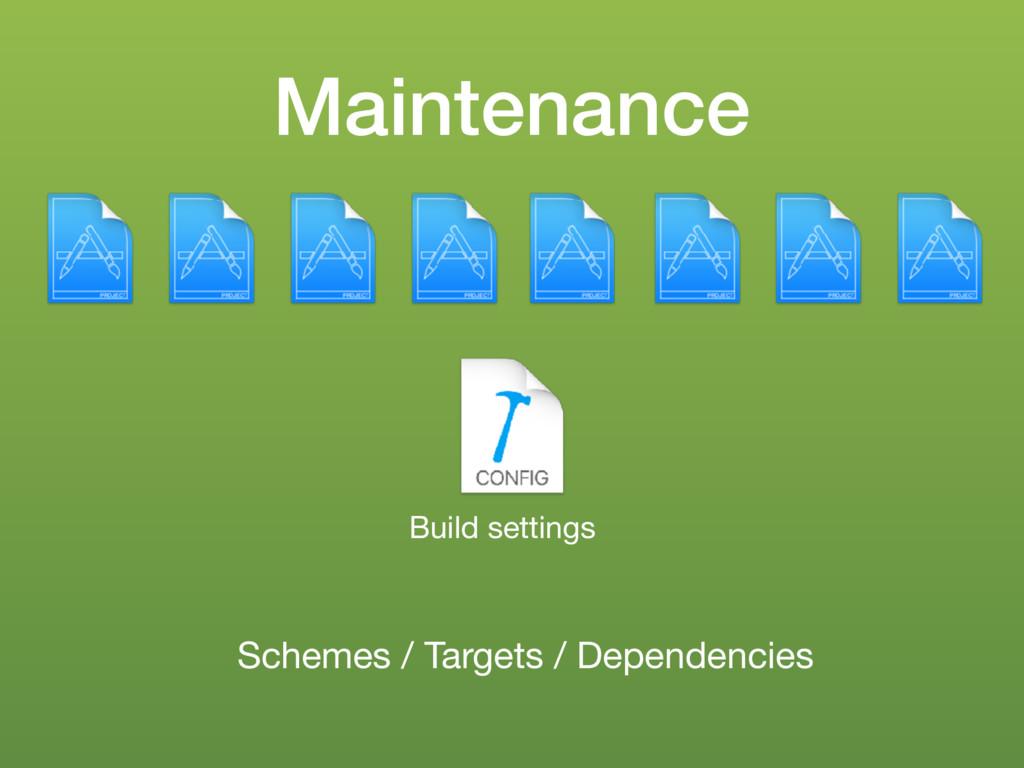 Maintenance Build settings Schemes / Targets / ...