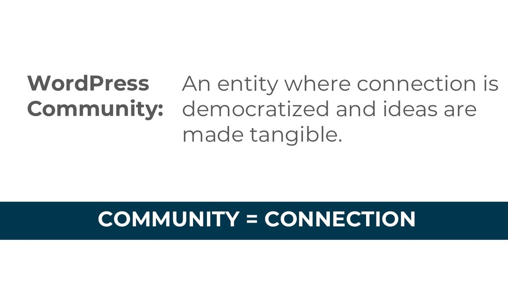 WordPress Community: An entity where connection...