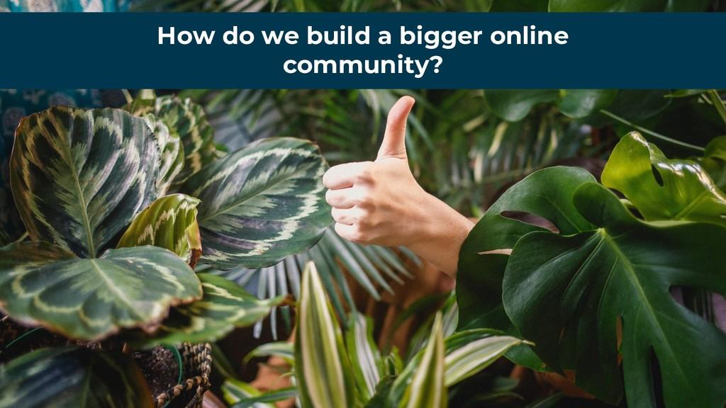 How do we build a bigger online community?