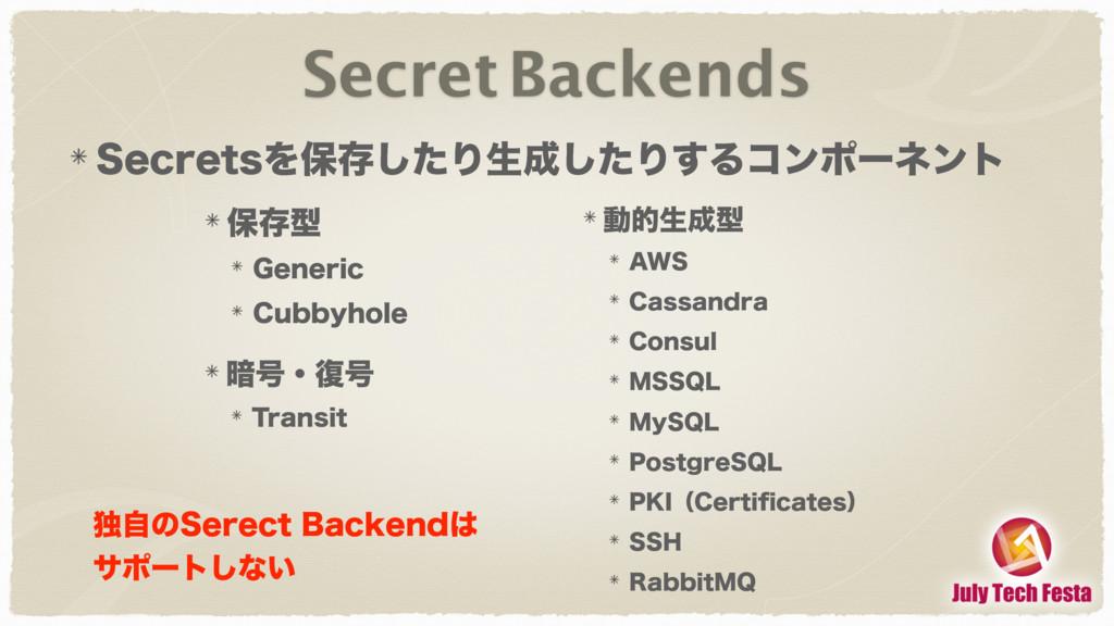 Secret Backends 4FDSFUTΛอଘͨ͠Γੜͨ͠Γ͢Δίϯϙʔωϯτ อଘܕ...