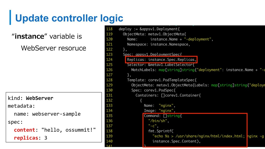 "Update controller logic ""instance"" variable is ..."