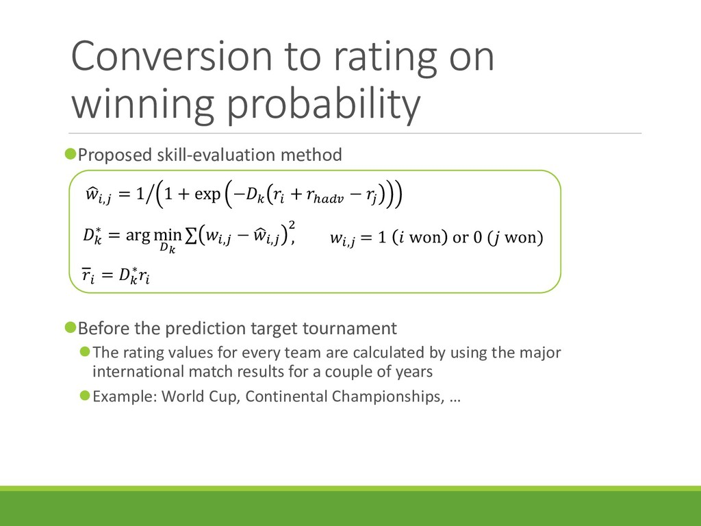 Conversion to rating on winning probability Pr...