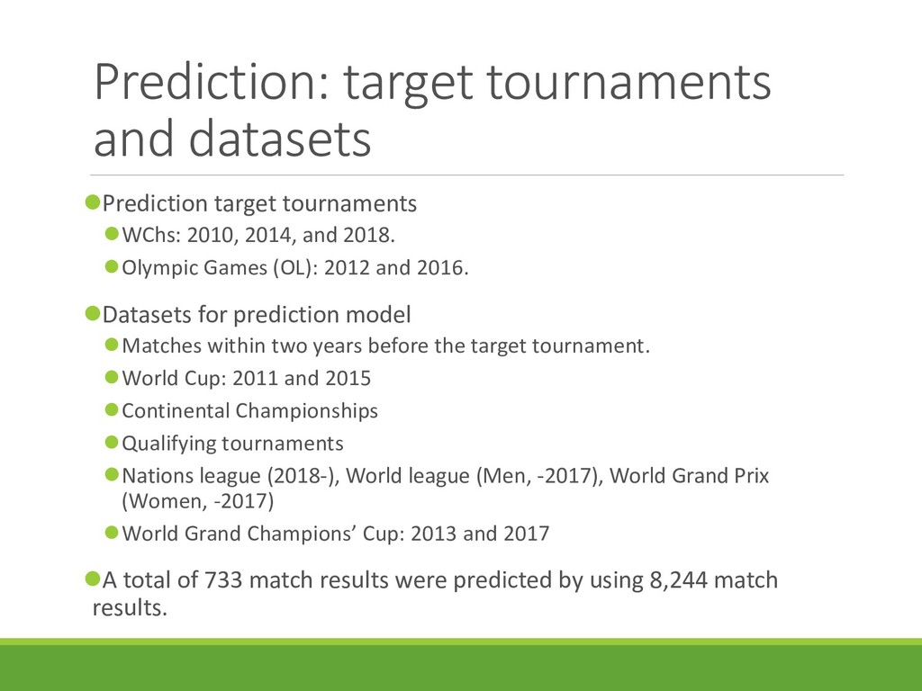 Prediction: target tournaments and datasets Pr...