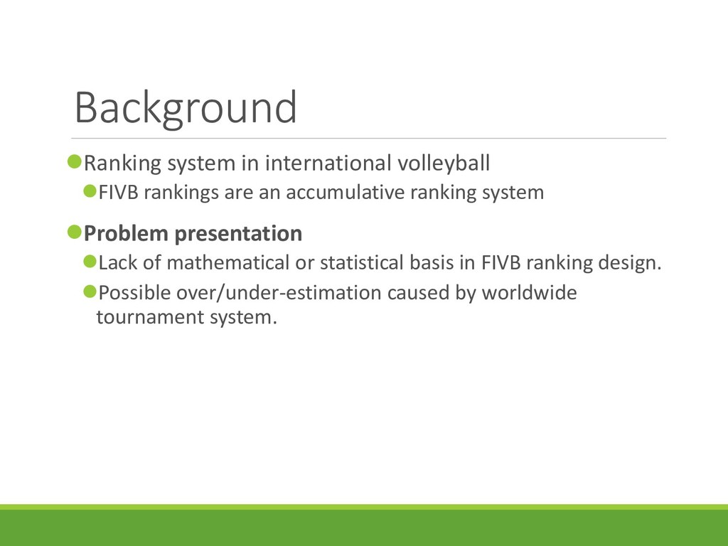 Background Ranking system in international vol...
