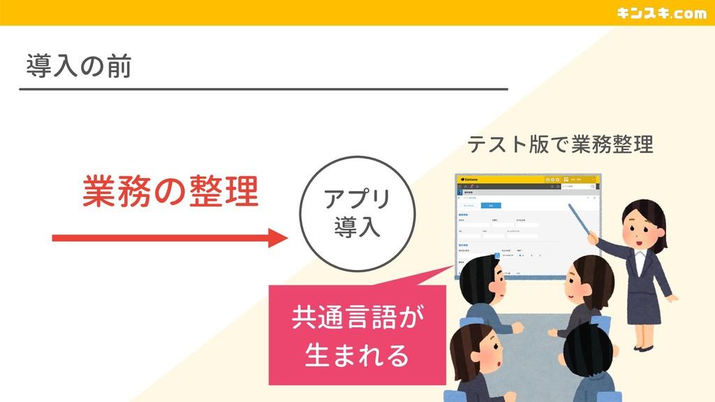 導入の前 アプリ 導入 業務の整理 テスト版で業務整理 共通言語が 生まれる