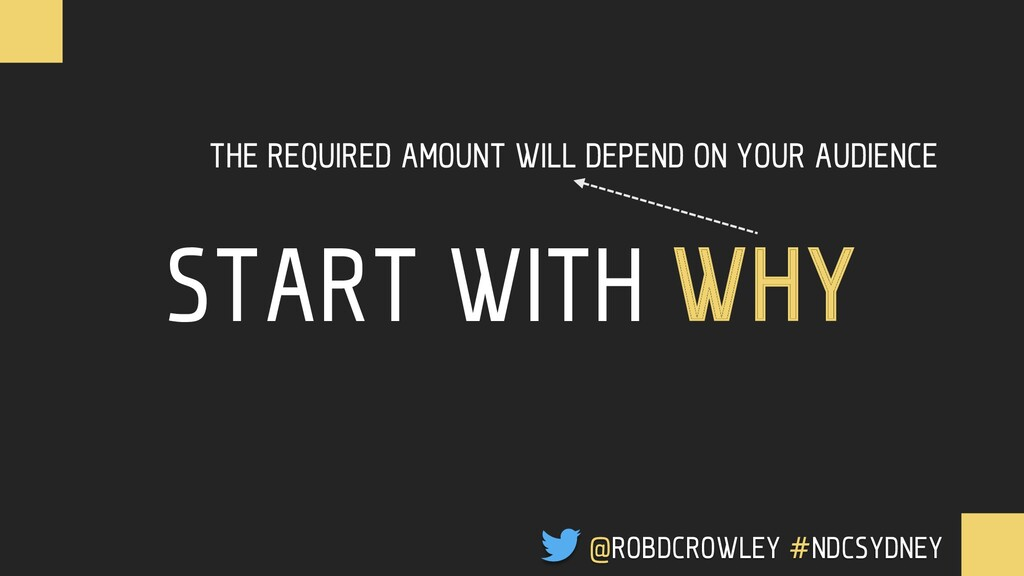 START WITH WHY THE REQUIRED AMOUNT WILL DEPEND ...