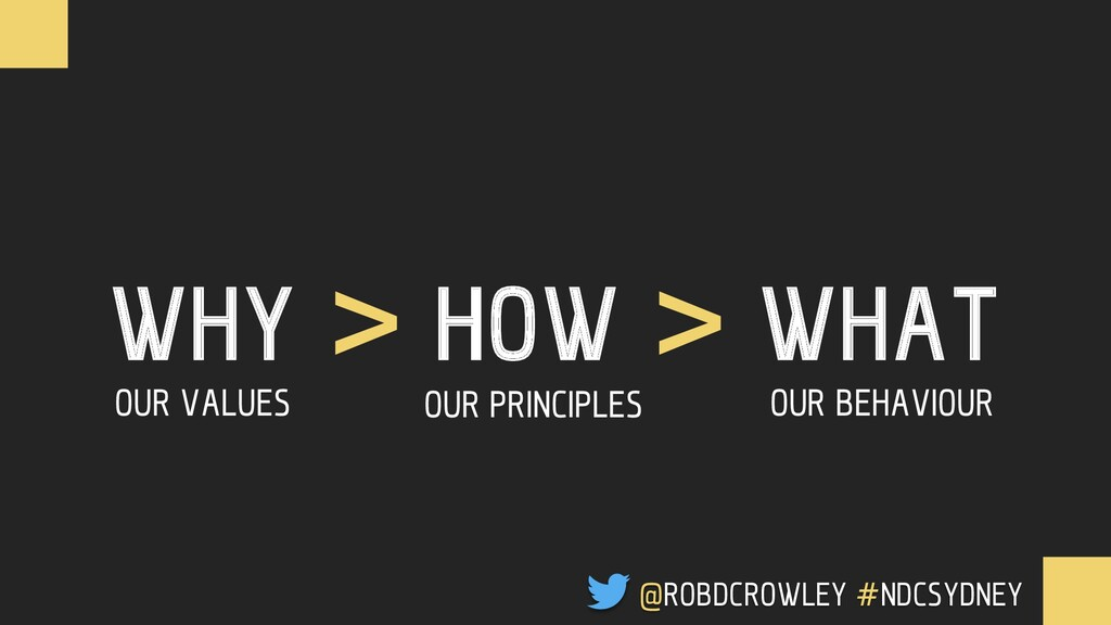 WHY > HOW > WHAT OUR VALUES OUR PRINCIPLES OUR ...