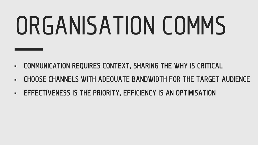 ORGANISATION COMMS § COMMUNICATION REQUIRES CON...